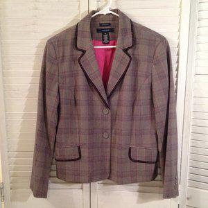 Jones Wear Stretch 14 Plaid Career Blazer Jacket